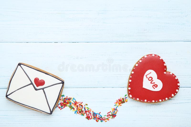 Valentine day cookies stock photos