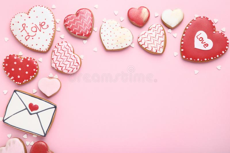 Valentine day cookies stock photo