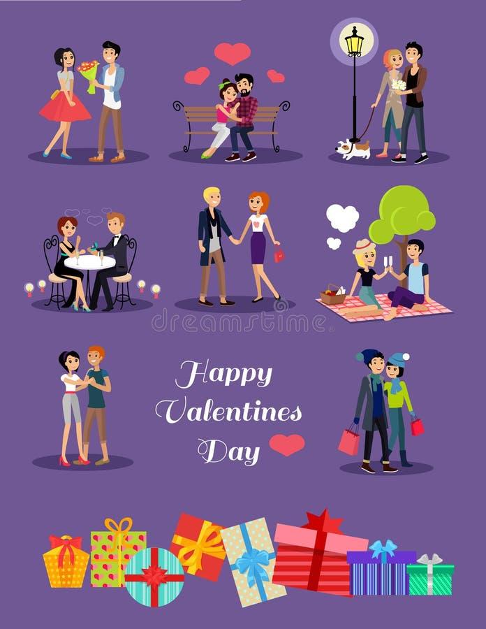 Valentine Day Couple Set heureux illustration libre de droits