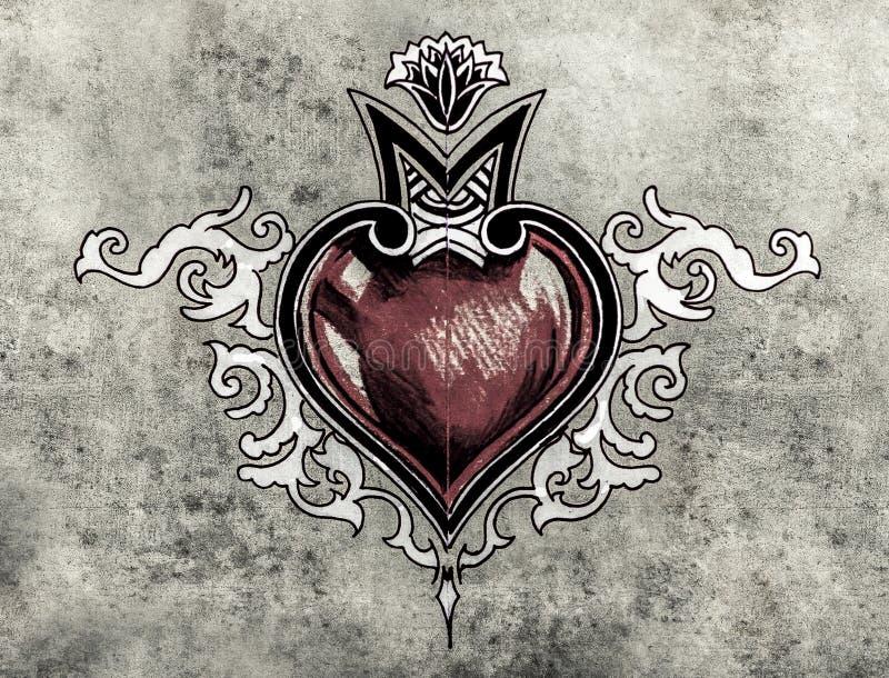Valentine Day. Croquis d'art de tatouage, conception tribale, coeur illustration stock