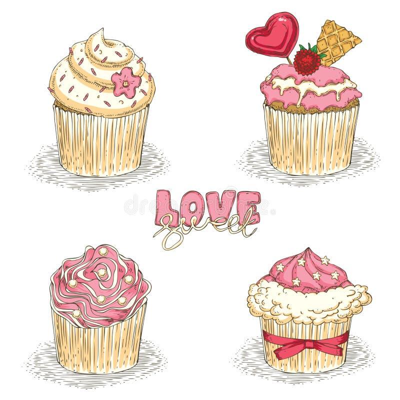 Valentine Day Cupcakes ilustración del vector