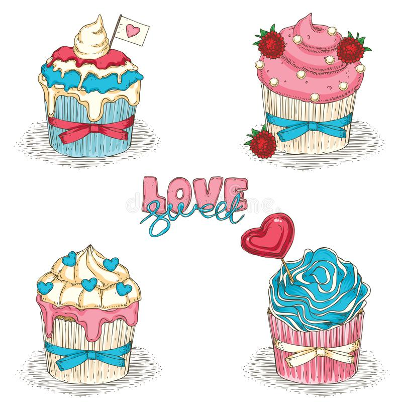Valentine Day Cupcakes libre illustration