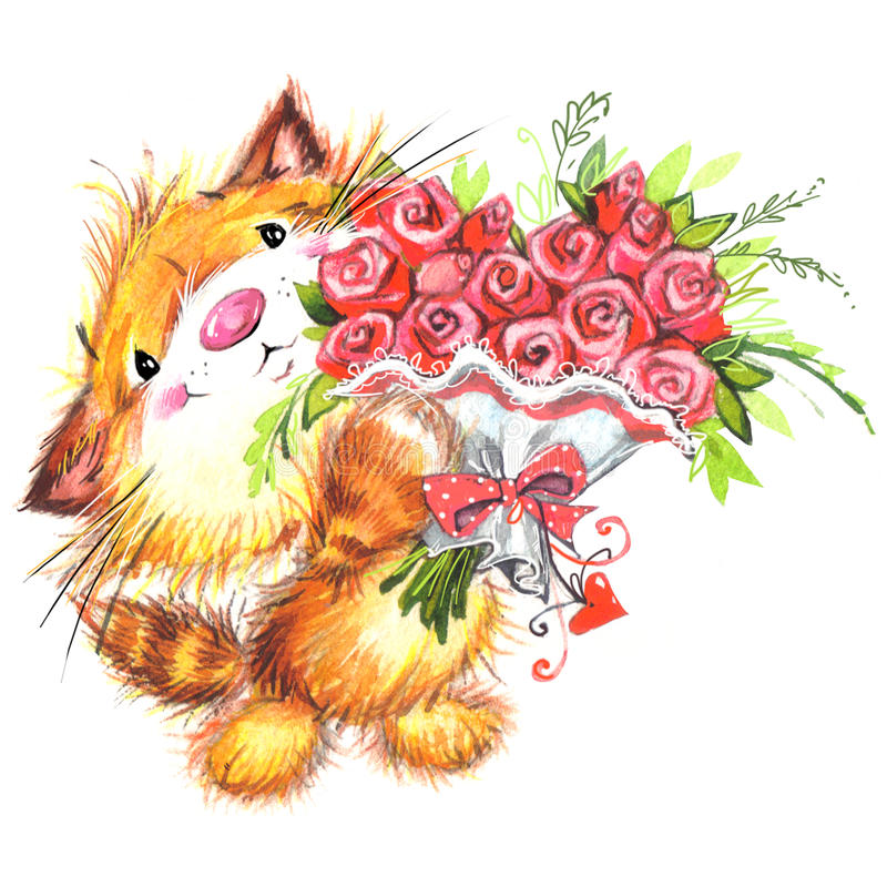 Valentine Day and cute animal. Watercolor Background for card