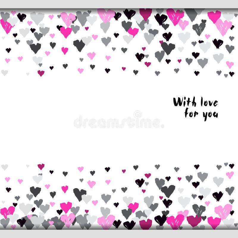 Valentine day design. Light horizontal border banner with pink rose hearts confetti on white background. Romantic trendy heart frame. Valentine day design for vector illustration
