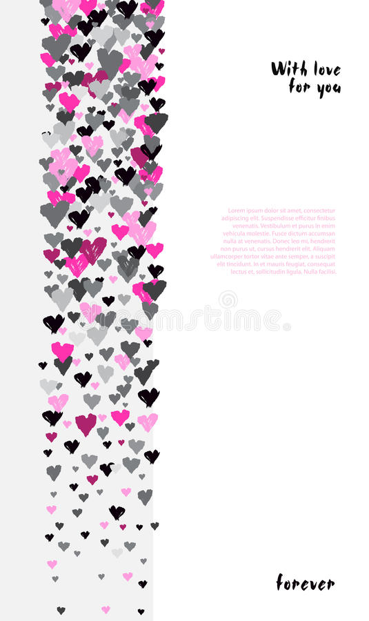 Valentine day design. Light vertical design with rose hearts confetti on white background. Romantic trendy heart banner. Valentine day design for love card royalty free illustration