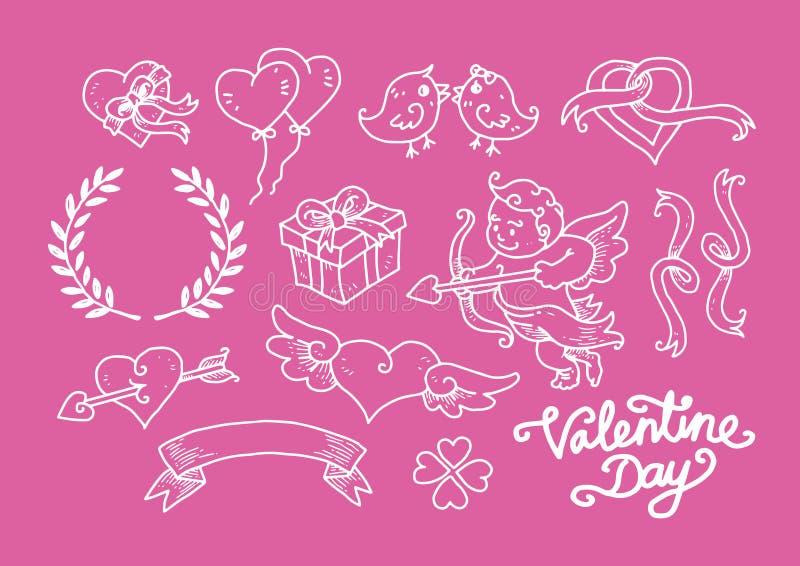 Valentine Day Doodle Set foto de archivo