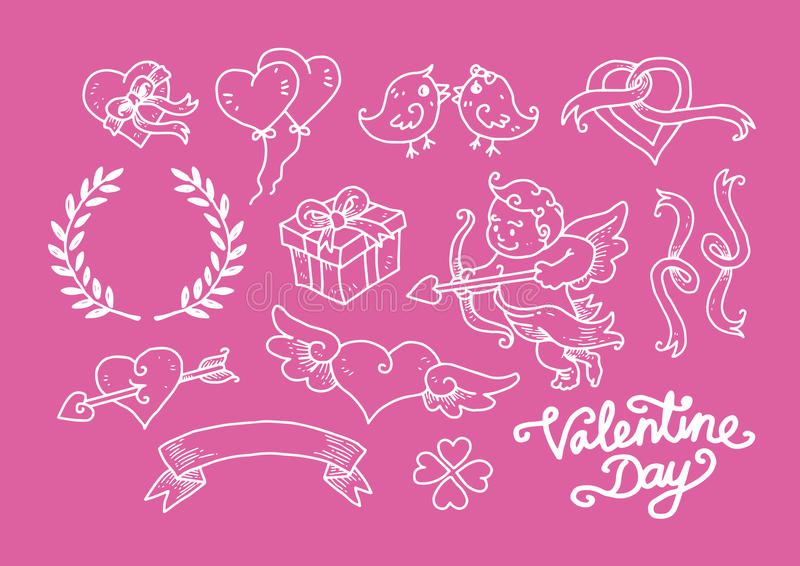 Valentine Day Doodle Set photo stock