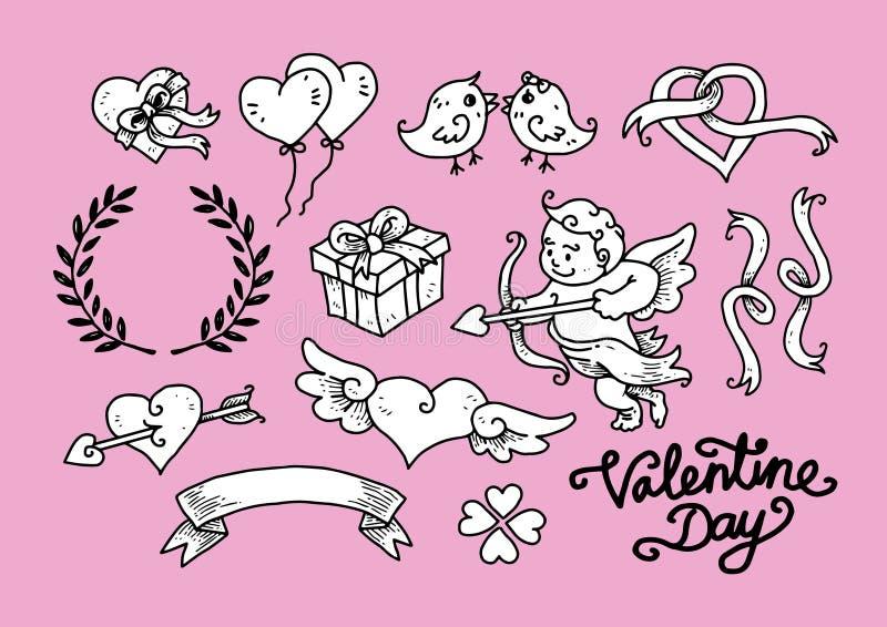 Valentine Day Doodle Set 3 imagen de archivo