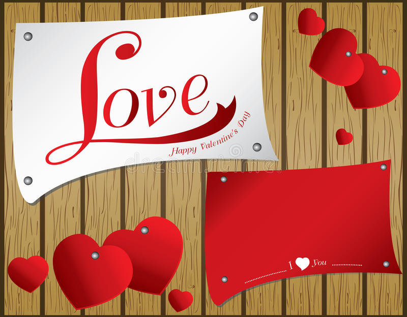 Valentine Day en fondo de madera del vector Corazón del vector en documento colorido sobre la textura de madera marrón background ilustración del vector