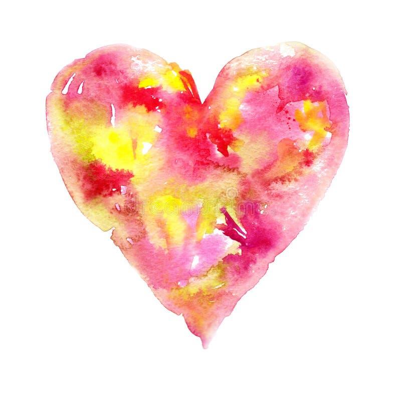 Valentine Day feliz! A aquarela pintou o coração, elemento para seu projeto bonito Ilustração da aquarela para seu cartão ou cart ilustração royalty free