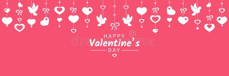 Valentine Day feliz o casarse la bandera horizontal de la enhorabuena con los diversos símbolos del amor que cuelgan en cintas ilustración del vector