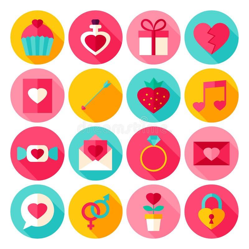 Valentine Day Flat Icons stock de ilustración