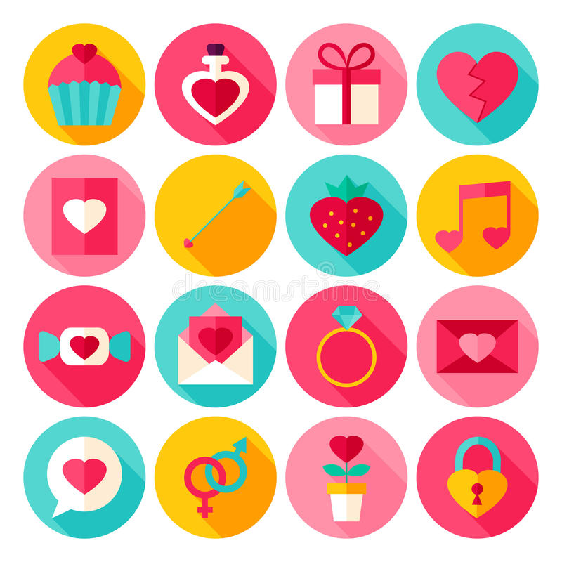 Valentine Day Flat Icons stock illustration
