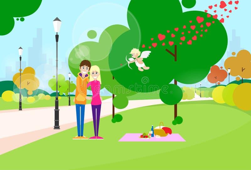Valentine Day Gift Card Couple no parque da forma do coração ilustração royalty free