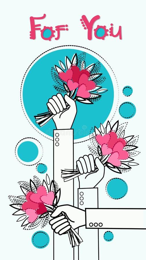 Valentine Day Gift Card Hand avec amour de vacances de bouquet de fleurs illustration libre de droits