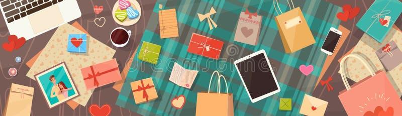 Valentine Day Gift Card Holiday adornó la opinión de ángulo superior del espacio de la copia del escritorio del espacio de trabaj stock de ilustración