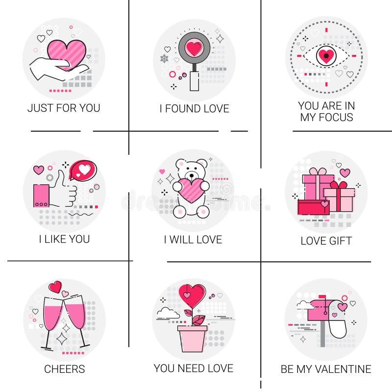 Valentine Day Gift Card Holiday-de Zegelreeks van het Liefdepictogram stock illustratie