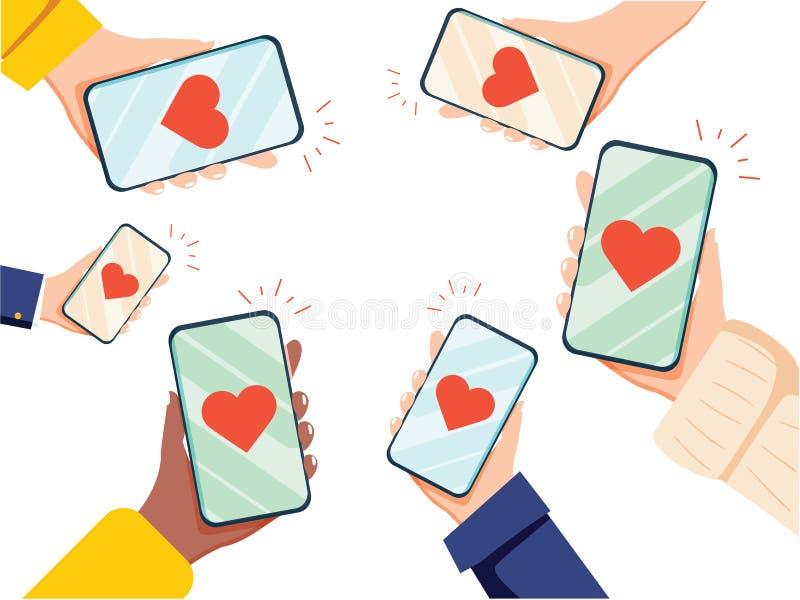 Valentine Day Gift Card Holiday förälskelsehänder rymmer den smarta telefonen för cellen med hjärtor Plan vektor för social nätve royaltyfri illustrationer