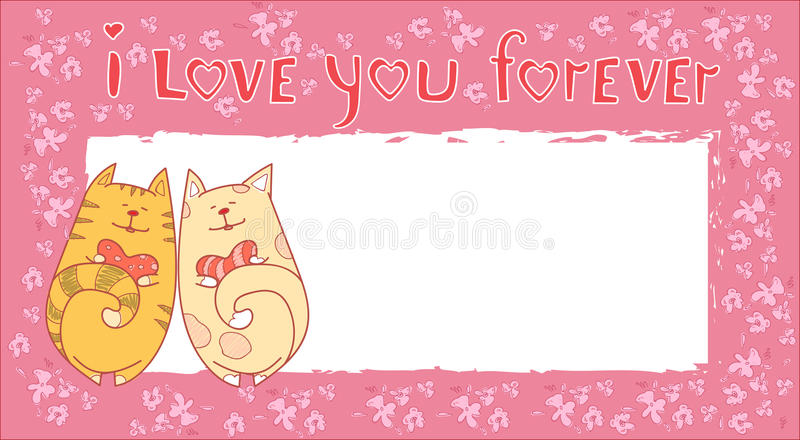 Valentine Day Gift Card Holiday-Liefdepaar Cat Banner With Copy Space vector illustratie