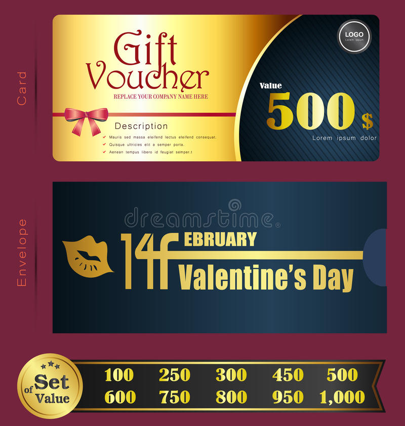Valentine Day Gift voucher template with premium pattern and envelope design vector illustration