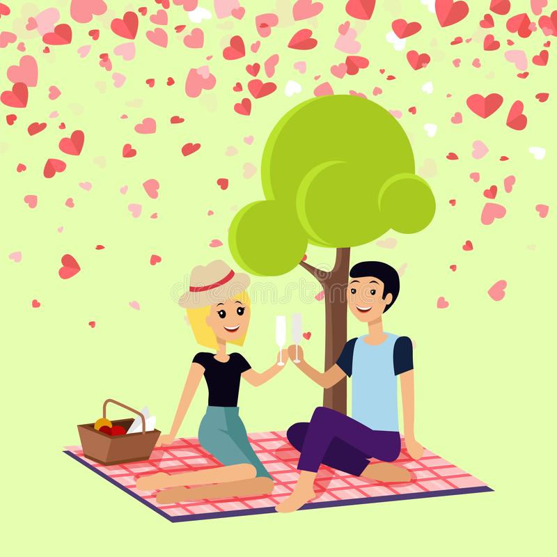 Valentine Picnic Day Couple Sits on Blanket Vector. Valentine day girl and boy sitting on map drinking champagne. Romantic spending time near tree, couple stock illustration