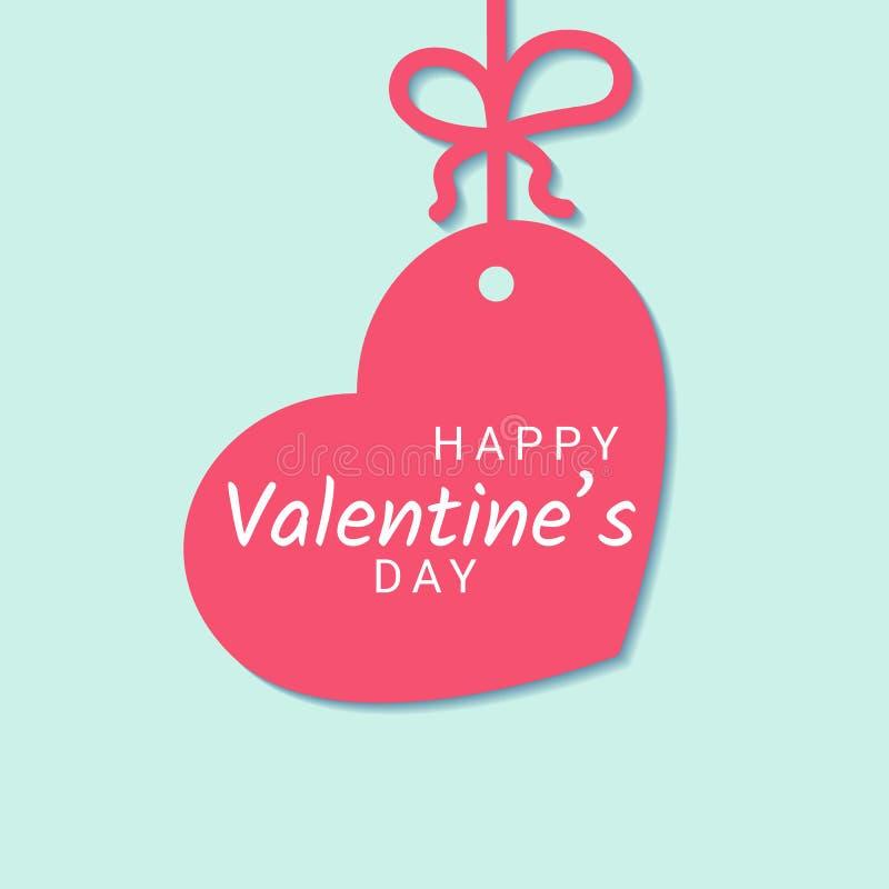 Valentine Day-Glückwunschfahne mit Zeichen auf dem rosa Herzen, das am Band mit Bogen auf blauem Hintergrund hängt stock abbildung