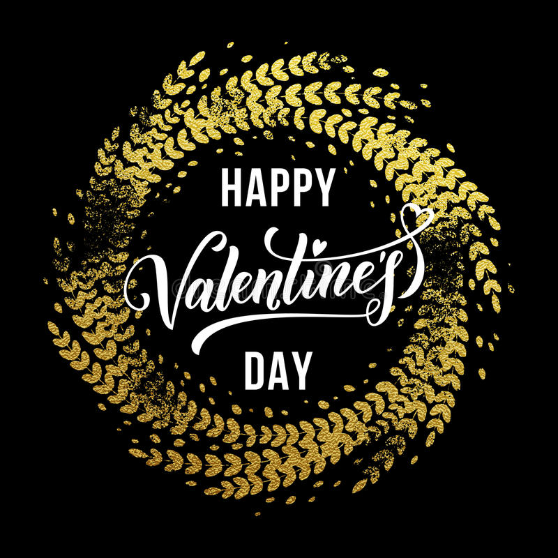 Valentine day gold love heart glitter greeting card. Vector gold luxury Valentine Day lettering text on golden ornament for premium black greeting card stock illustration