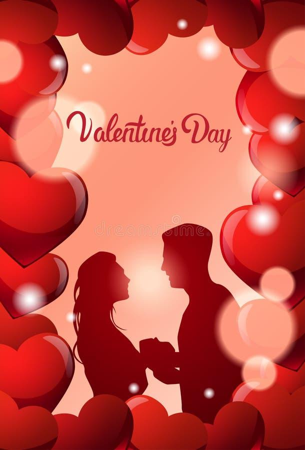 Valentine Day Greeting Card Couple embrassant au-dessus du beau fond avec l'homme et la femme de silhouette de coeurs dans l'amou illustration de vecteur