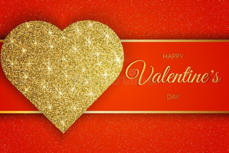 Valentine Day Greeting Card Festliche Karte für glücklichen Tag des Valentinsgruß-s Roter Hintergrund mit goldenem Herzen und Fun stock abbildung