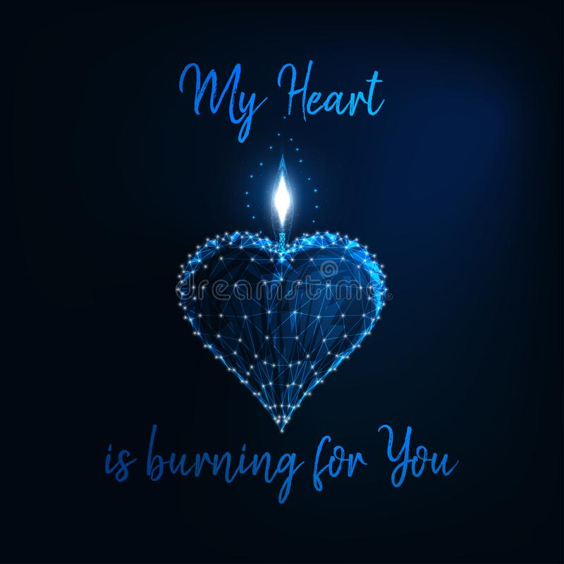 Valentine Day greeting card with glowi low poly heart candle amd text My Heart is burning for you. Valentine Day greeting card template with glowing low poly royalty free illustration