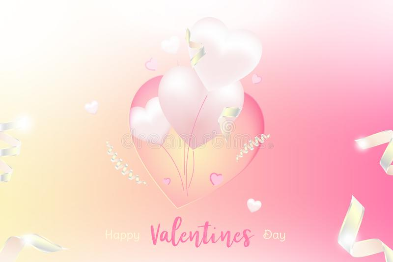Valentine Day greeting card template. Celebration concept with Pink hearts and light effects on background with ribbons. vector illustration