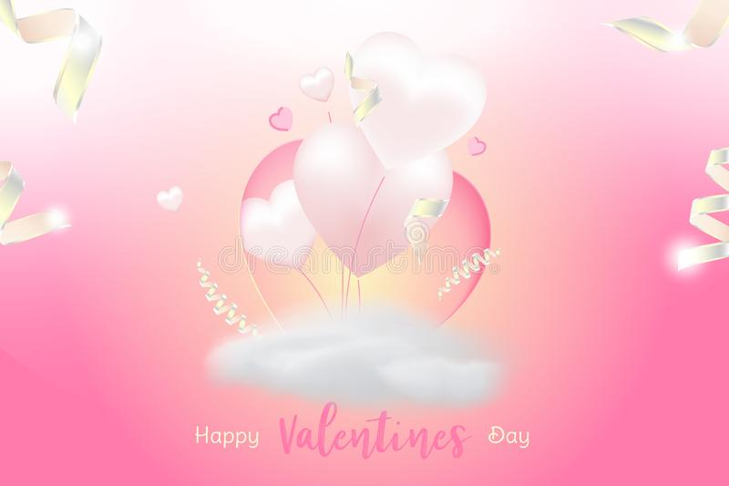 Valentine Day greeting card template. Celebration concept with Pink hearts and light effects on background with ribbons stock illustration