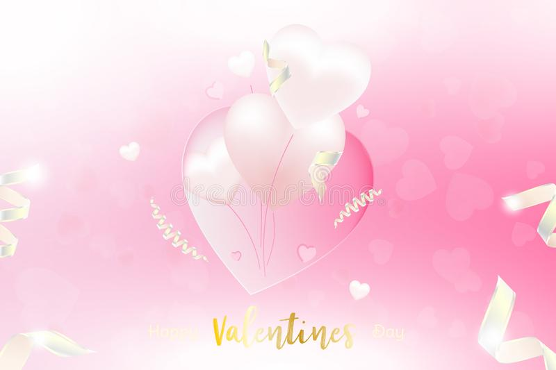 Valentine Day greeting card template. Celebration concept with Pink hearts and light effects on background with ribbons. stock illustration
