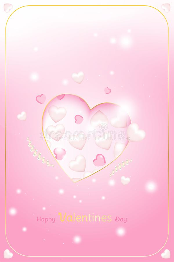 Valentine Day greeting card template. Celebration concept with Pink hearts and light effects on background with ribbons. royalty free illustration