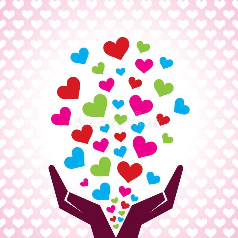 Valentine Day Greeting con la mano que emite corazones ilustración del vector