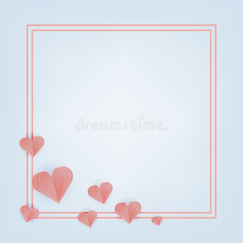 Valentine Day-Grußkarte mit geschnittenen Papierherzen Vektor stock abbildung