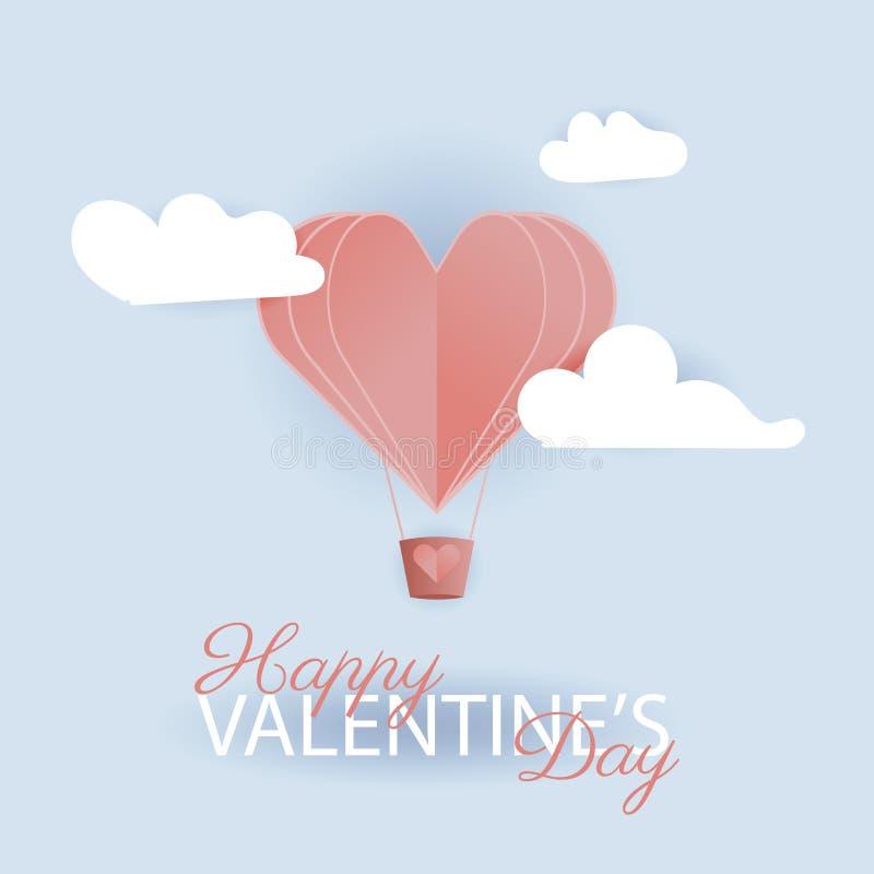 Valentine Day hälsningkort med pappers- klippta hjärtor vektor vektor illustrationer