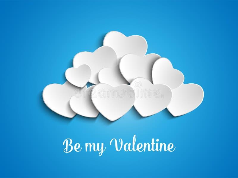 Valentine Day Heart Clouds en el cielo ilustración del vector