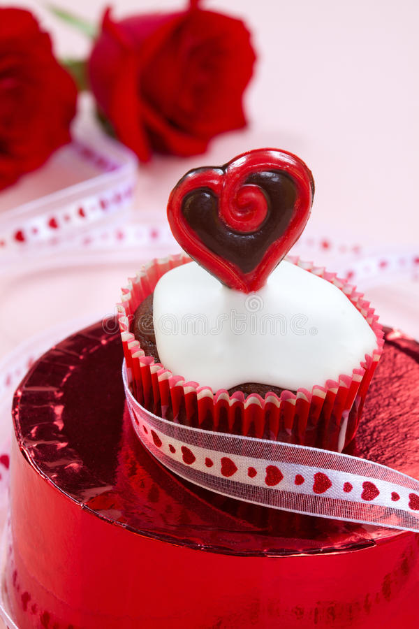 Valentine Day Heart Cupcake stock image