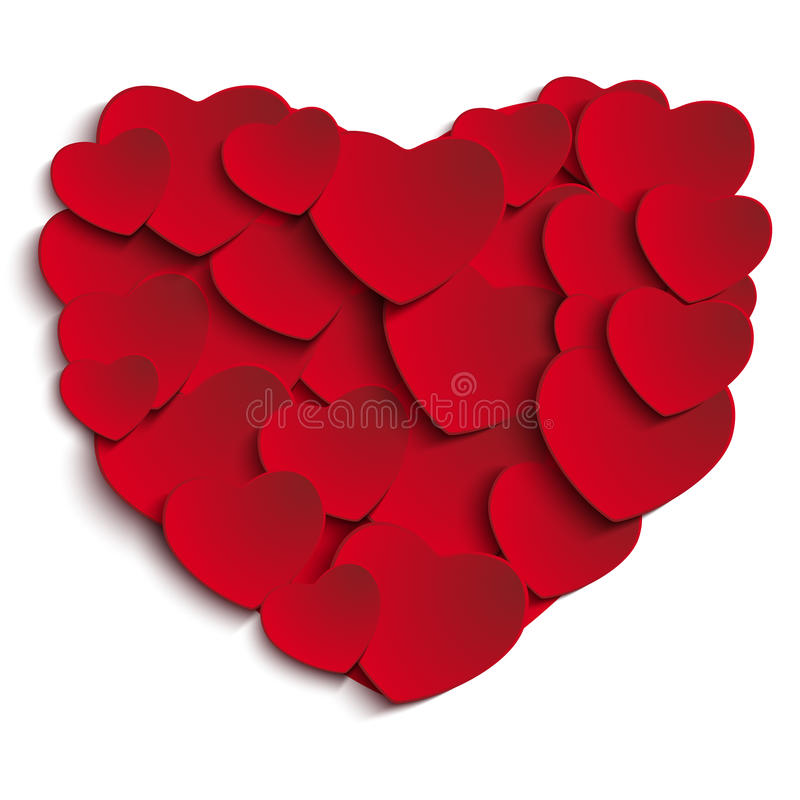 Valentine Day Heart en el fondo blanco stock de ilustración