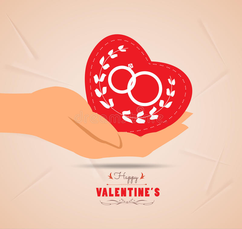 Valentine day with heart in hand. Love heart, romantic decoration for design royalty free illustration
