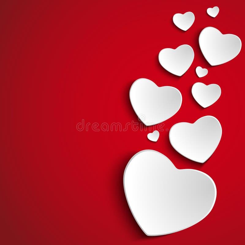 Valentine Day Heart no fundo vermelho ilustração stock