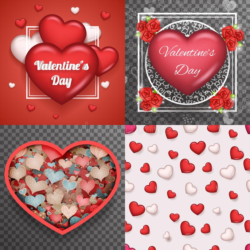 Valentine Day Heart Realistic 3d Symbol Transparent Doodle Background Greating Card Template Mock up Design Set Vector. Valentine Day Heart Realistic 3d Symbol vector illustration