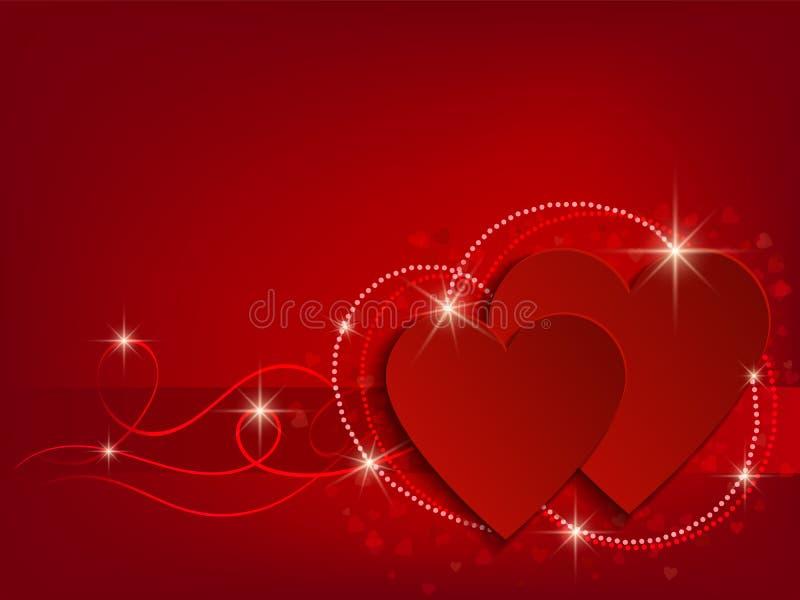 Valentine Day Heart on Red Background. Vector illustration stock illustration