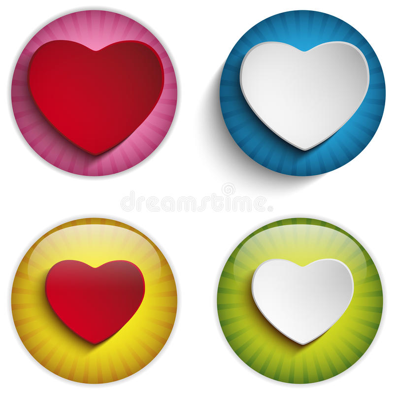 Valentine Day Heart sur les boutons brillants colorés illustration de vecteur