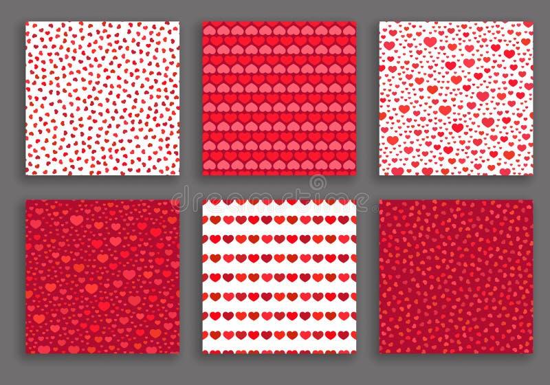 Valentine Day Hearts Patterns Set ilustração do vetor