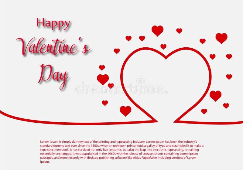 Valentine Day-het malplaatje van de groetkaart, ontwerp met rood hart, de vieringsconcept van de valentijnskaartdag royalty-vrije illustratie