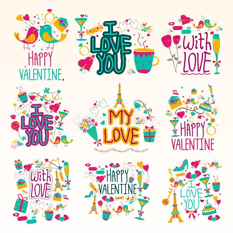 Valentine Day Holiday feliz e desejo e cumprimentos do festival ilustração royalty free