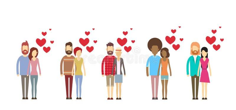Valentine Day Holiday Silhouette Couple-Liebhaber-Umarmungs-Herz-Form-gesetzte Sammlung stock abbildung