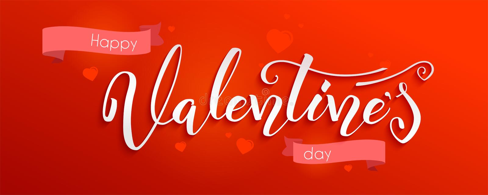 Valentine day. Holidays lettering, hand-drawn calligraphy on red background. Greetings with design of text and graphics vector illustration